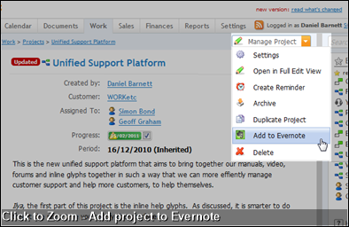 Click to Zoom - Add project to Evernote