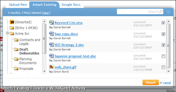 Attach Existing Files to a WORK[etc] Activity
